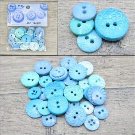 Blue Hawaiian - Dress it Up 2 Hole & 4 Hole Buttons